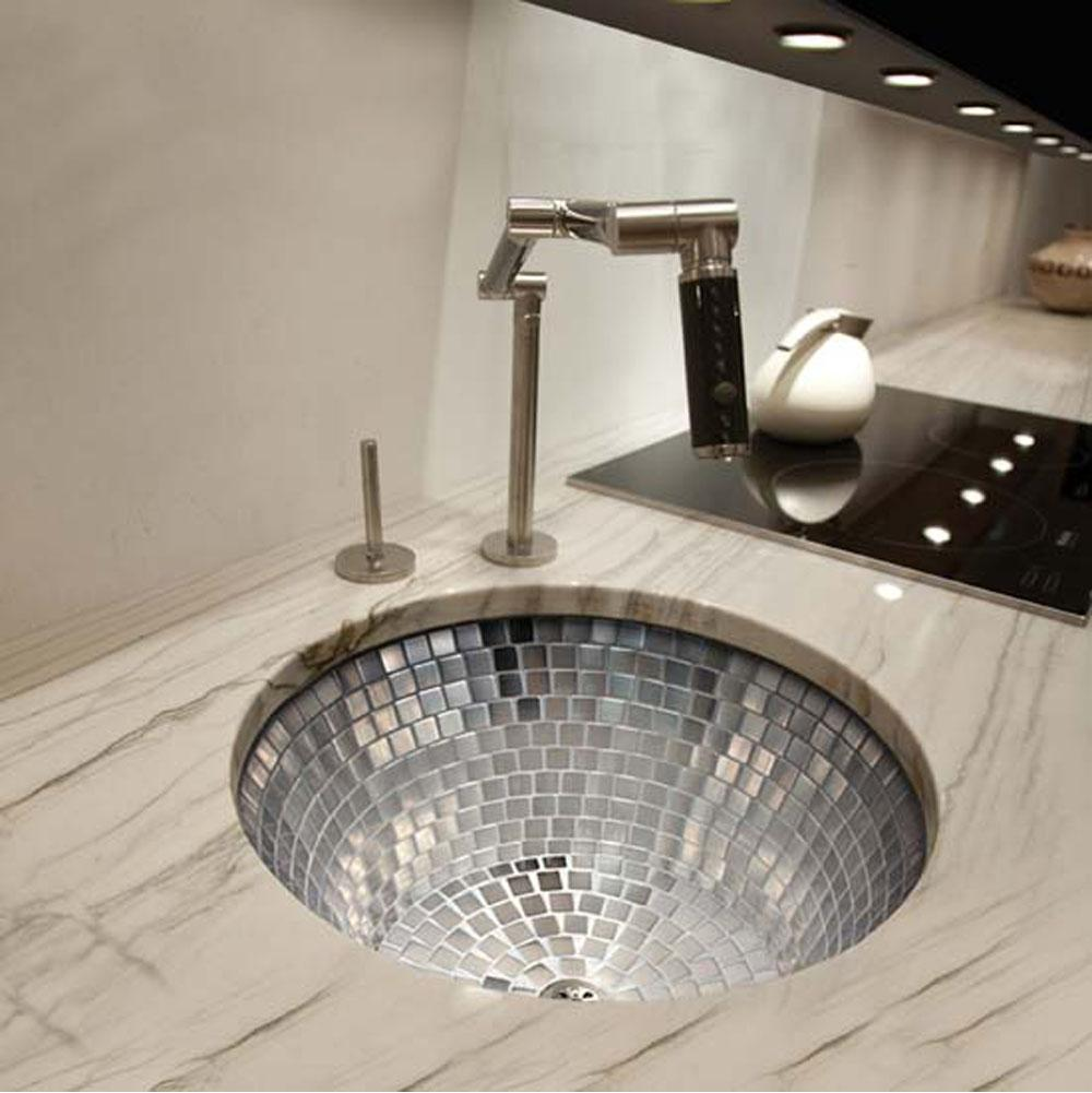 Linkasink   V042 UM   Undermount Round Kitchen Sink W/ Stainless Steel  Mosaic Tile Interior No Color Or Mosaic Option Choose Drain: