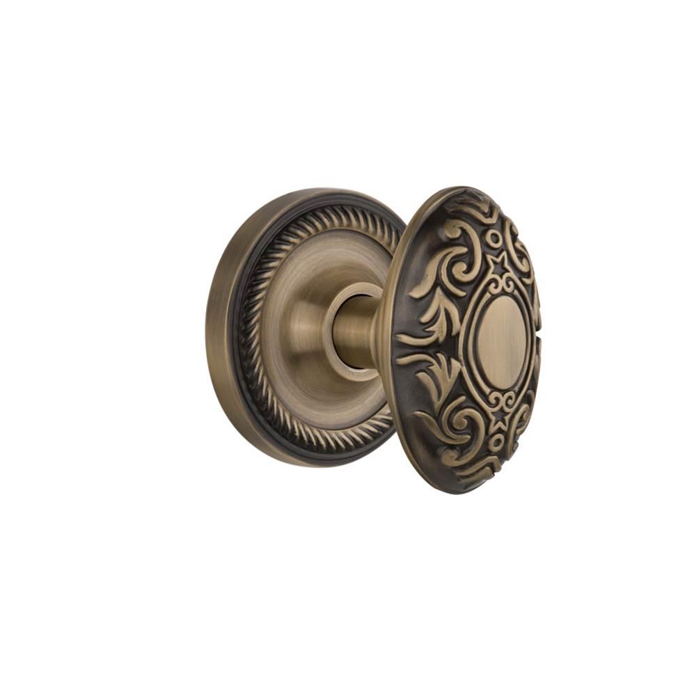 Nostalgic Warehouse   702525   Rope Rosette Privacy Victorian Door Knob In  Antique Brass