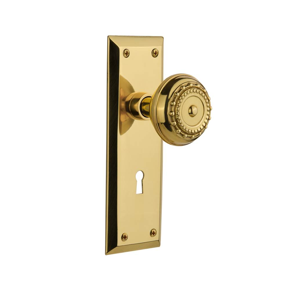Nostalgic Warehouse   718632   New York Plate With Keyhole Privacy Meadows  Door Knob In Unlacquered Brass
