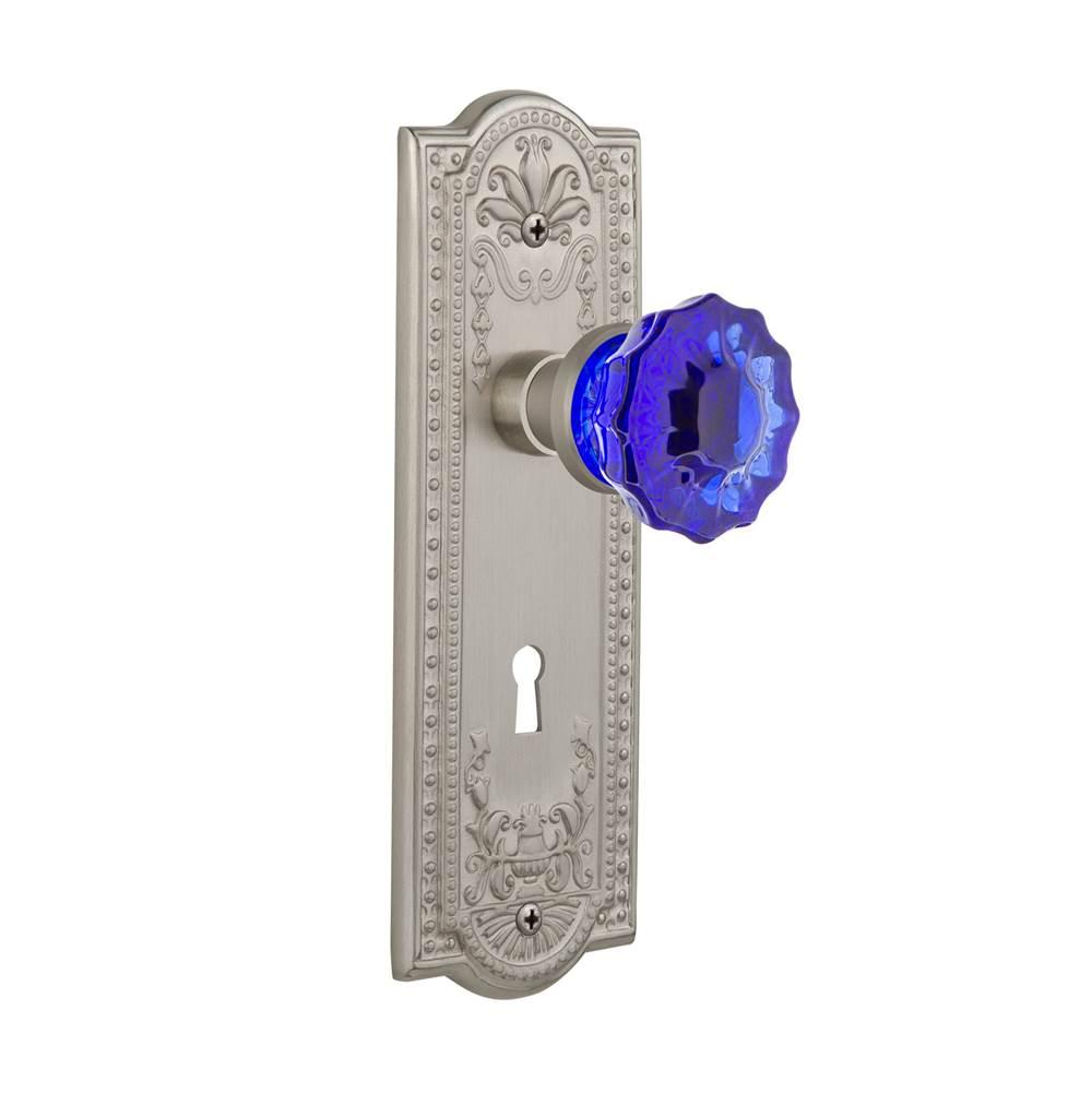Nostalgic Warehouse   722862   Meadows Plate With Keyhole Single Dummy  Crystal Cobalt Glass Door Knob In Satin Nickel
