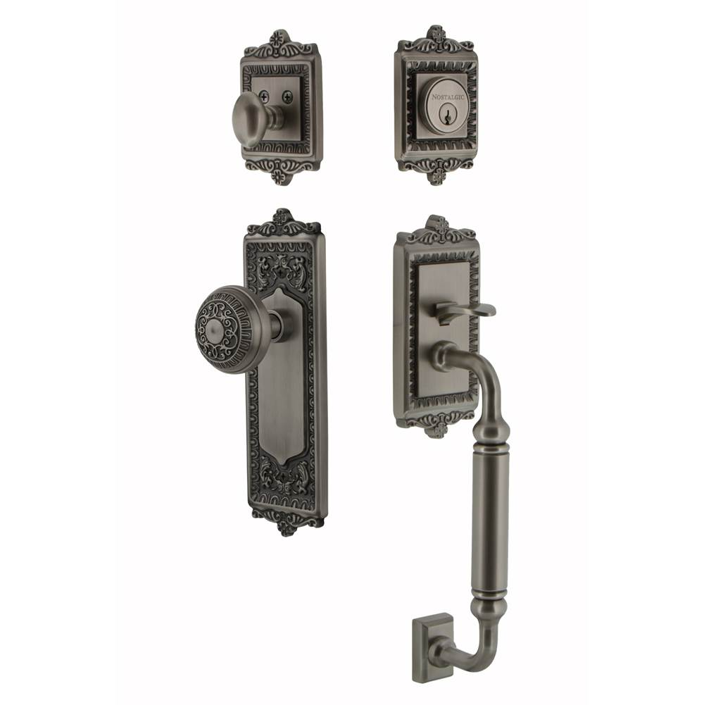 Nostalgic Warehouse   727752   Egg And Dart Plate C Grip Entry Set Egg And  Dart Knob In Antique Pewter